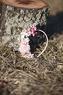 Ozdoby do vlasov - V ružovej pene-čelenka - 7983752_