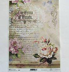 Nezaradené - Ryžový papier na decoupage - A4 - R707 - ruža, vintage, písmo - 7984415_