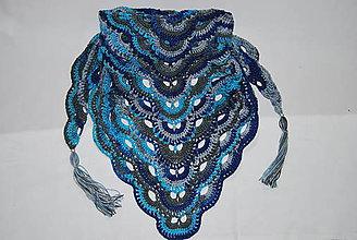 Šatky - Modro šedá melírová šatka na krk ihneď k odberu :) - 7982385_