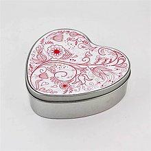 Krabičky - Plechová krabička srdce - kvety 1 - 7984200_
