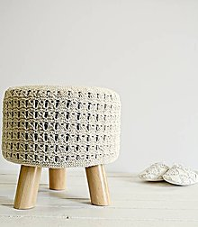 Nábytok - Taburetka s pleteným poťahom (prírodná) - 7980831_