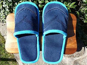 Obuv - Modré rifľové papuče s vreckom - 7981615_
