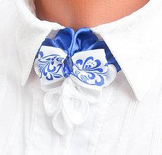 Náhrdelníky - Elegancia a la Chanel - modrý folk náhrdelník pod golier - 7980734_