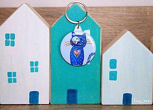 Kľúčenky - Kľúčenka mačička-modrá so ♥ :) - 7980586_