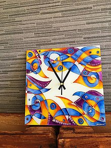 Hodiny - Sklenené hodiny - modrá hudba - 7983823_