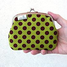 Taštičky - Peňaženka Zeleno-hnedá s bodkami - 7981630_