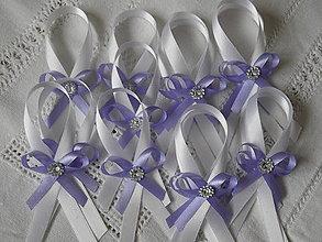 Darčeky pre svadobčanov - Stuha na fľaše bielo .  fialová - 7982116_