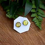 Náušnice - Zlato-zelené dichroic napichovačky - 7981159_