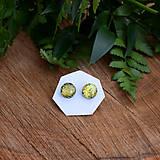 Náušnice - Zlato-zelené dichroic napichovačky - 7981160_
