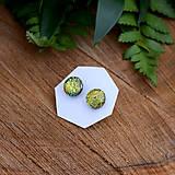 Náušnice - Zlatozelené dichroic napichovačky - 7981161_