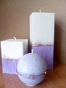 Svietidlá a sviečky - Sada sviečok zdobená drôtom / fialová - 7980589_