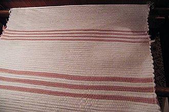 Úžitkový textil - Tkaný koberec biely s ružovými pásikmi - 7984532_