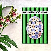 Papiernictvo - Geometrické veľkonočné vajíčko - fľaky a puzzle - 7984165_