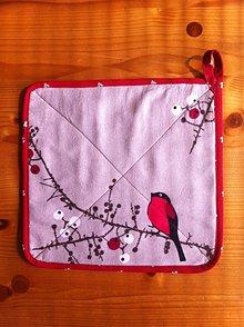 Úžitkový textil - kuchynská chňapka vtáčik - 7983970_