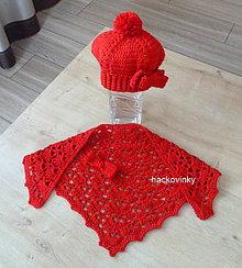 Detské čiapky - Cervena baretka s maslou + satka - 7984454_