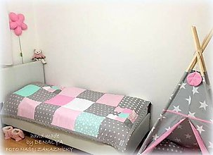 Úžitkový textil - Prehoz 120x205 k teepee stanu Basic mentol a ružová - 7987436_