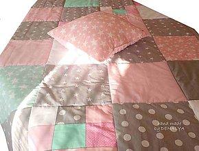 Textil - Prehoz 160x90cm Basic mentol a ružová - 7987483_