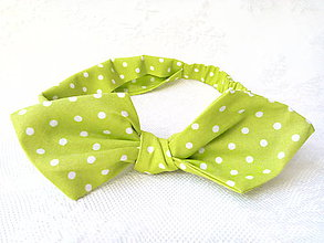Ozdoby do vlasov - Pin Up headband on elastic (apple green/white polka dots) - 7985171_