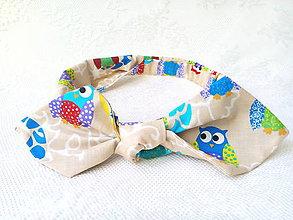 Ozdoby do vlasov - Pin Up headband on elastic (funny owls) - 7987870_