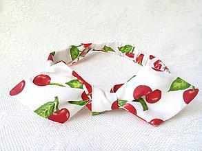 Ozdoby do vlasov - Pin Up headband on elastic (white/cherries) - 7987923_
