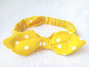 Ozdoby do vlasov - Pin Up headband on elastic for kids (yellow/white polka dots) - 7987984_