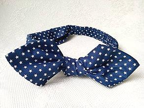 Ozdoby do vlasov - Pin Up headband on elastic (night stars) - 7988192_