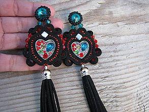 Náušnice - Button collection-color heart...soutache - 7987374_