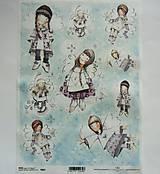 - Ryžový papier na decoupage - A4 - R805 - dievčatko, anjel - 7986935_