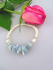 Náramky - akvamarín striebro a pravé perly náramok - 7985824_