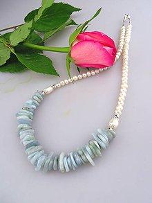 Náhrdelníky - Perly akvamarín strienro náhrdelník - 7986061_