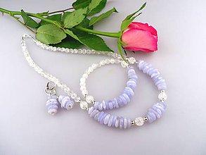 Sady šperkov - chalcedón krištál striebro náhrdelník náramok náušnice - 7986589_