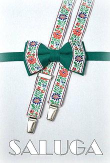 Doplnky - Folklórny pánsky zelený motýlik a traky - folkový - ľudový - 7988518_