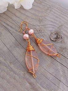 Náušnice - Medené ružovkasté - 7989013_
