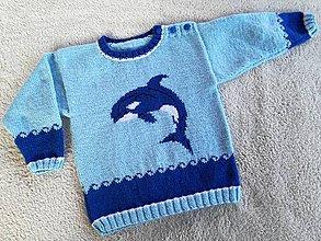 Detské oblečenie - Detský pulovrík - veľryba VILI - 7987650_