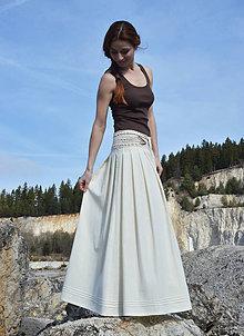 Sukne - Crochet waist skirt - cream - 7988114_