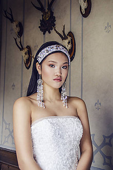 Ozdoby do vlasov - Vyšívaný choker náhrdelník a čelenka v jednom - 7984686_