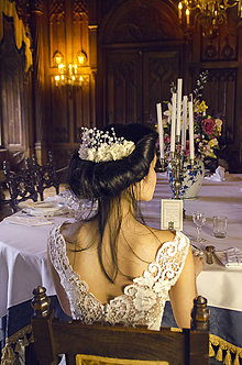 Ozdoby do vlasov - Kvetinový štvrťvenček s perličkami - 7984734_