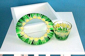 Svietidlá a sviečky - Svietnik a podnos okrúhly: žlté tulipány :) - 7988224_