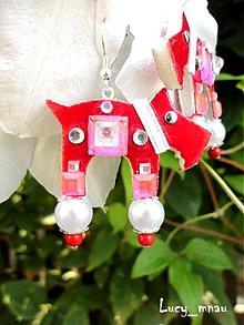 Náušnice - Náušnice havkovia červení s bielym obojkom:) - 7988408_