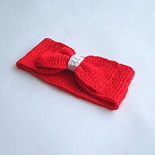 Detské doplnky - Červená pletená čelenka s mašľou - 7988827_