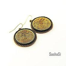 Náušnice - Náušnice okrúhle bronzovo-čierne - 7986657_