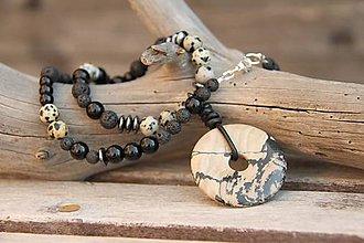 Šperky - Pánsky náhrdelník onyx, jaspis, láva - 7986155_