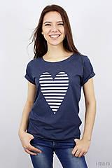 Tričká - Dámske tričko modré melírové PRÚŽKOVANÁ - 7988715_