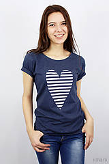 Tričká - Dámske tričko modré melírové PRÚŽKOVANÁ - 7988716_