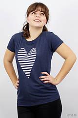 Tričká - Dámske tričko modré melírové PRÚŽKOVANÁ - 7988718_