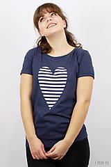 Tričká - Dámske tričko modré melírové PRÚŽKOVANÁ - 7988722_