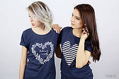 Tričká - Dámske tričko modré melírové PRÚŽKOVANÁ - 7988724_