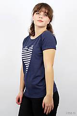 Tričká - Dámske tričko modré melírové PRÚŽKOVANÁ - 7988725_