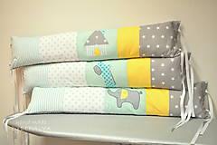 Textil - Podlhovasté vankúše na veľkú posteľ so šnurkami 25x100cm MINT - 7990411_