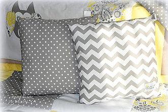 Textil - Jednoduché vankúše v šedobielej kombinácií 40x40cm - 7989498_